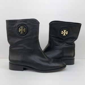 Tory Burch Black Leather Ankle Boots, Size 10
